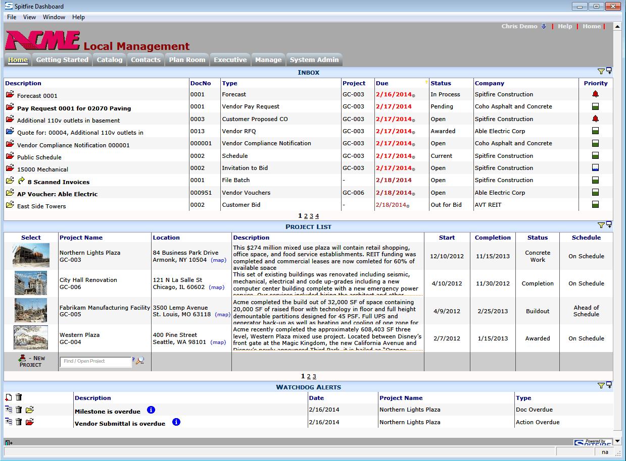 Dashboard - Spitfire Project Management System