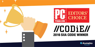 Acumatica Wins PC Mag Editors' Choice and 2016 CODiE Awards
