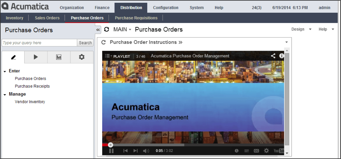 Purchase Order dashboard in Acumatica ERP