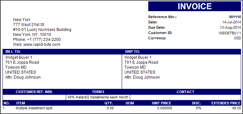 The second invoice created from the installment plan