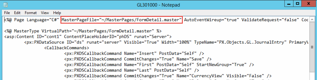 The example is from the Journal Transactions screen. I this case the FormDetail.master file is referenced.