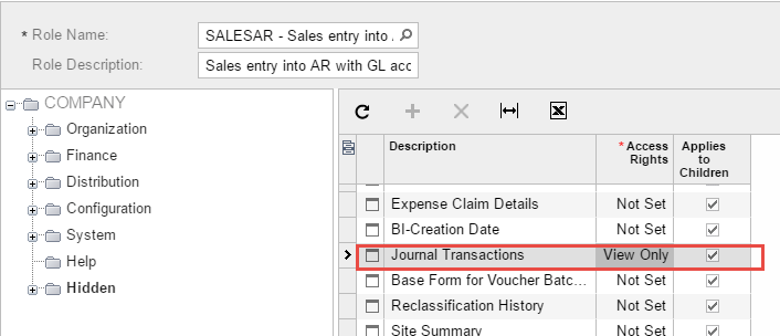 Grant view-only to the Journal Transactions screen
