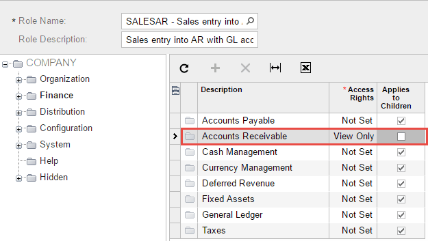 Set Accounts Receivable permission to View Only