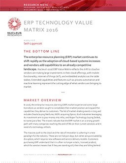 ERP Technology Value Matrix 2016