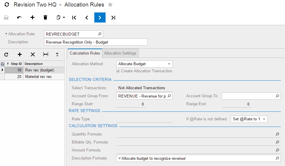 Complete the Calculation Rules tab