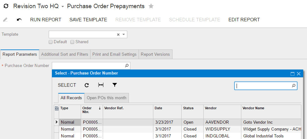 You need to look up a specific purchase order