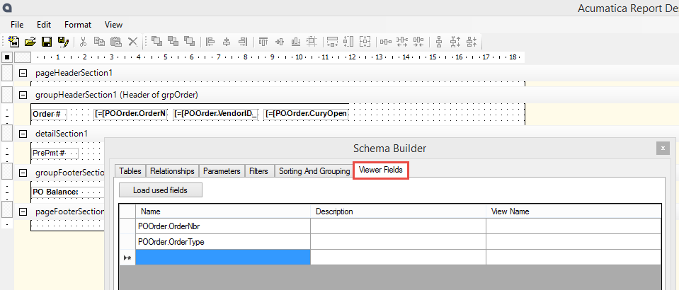 Acumatica includes a feature that is exposed in the Viewer Fields tab of the Schema Builder of the Report Designer