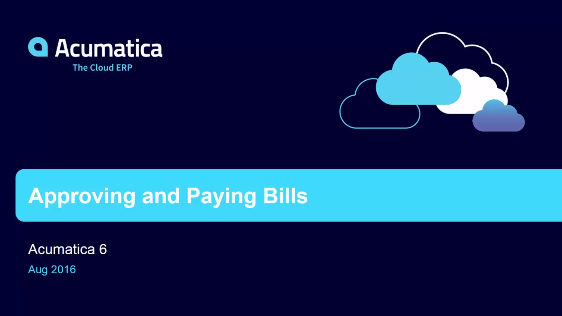 Acumatica 6: AP Invoice Automated Approval and Payment
