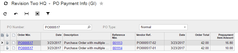 Generic inquiry with the purchase order number