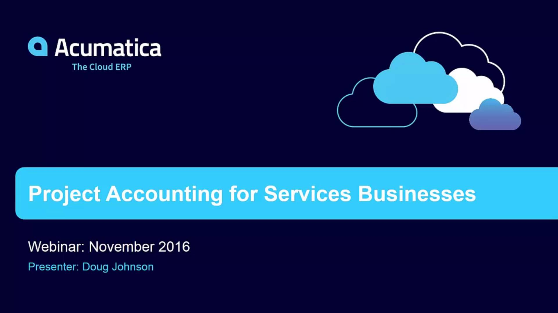 Acumatica Project Accounting Webinar (November 17, 2016)