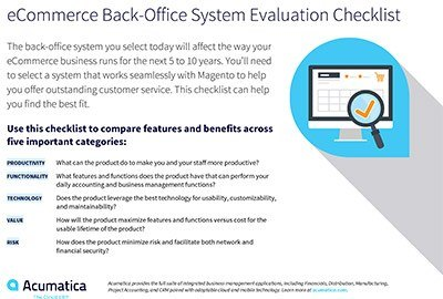 eCommerce Back-Office System Evaluation Checklist from Acumatica