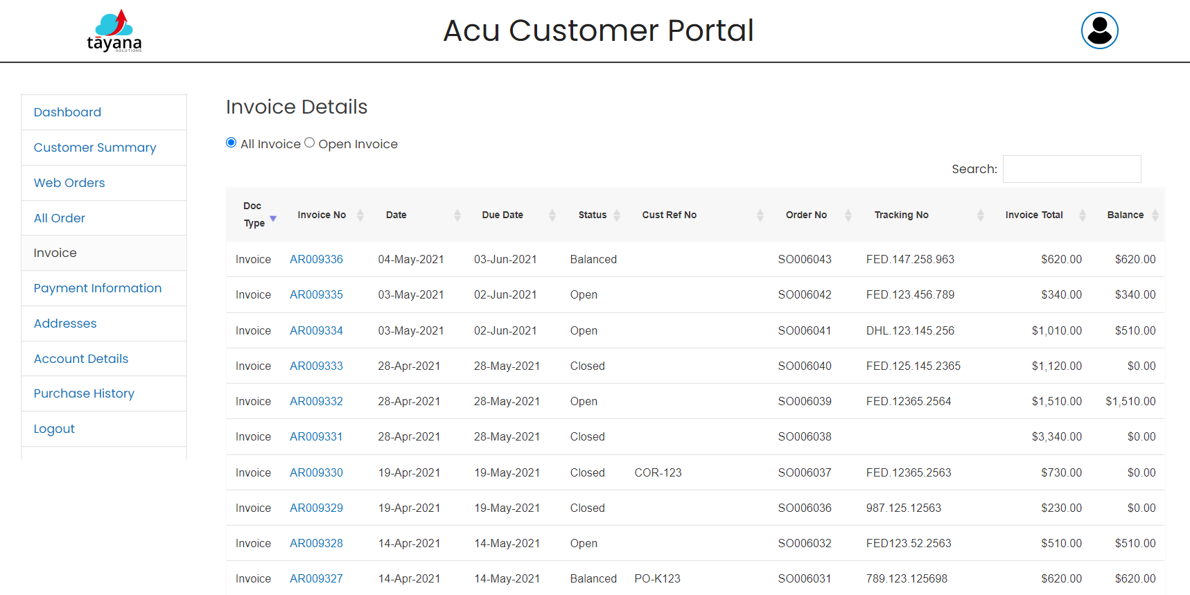AcuCustomerPortal-Invoices