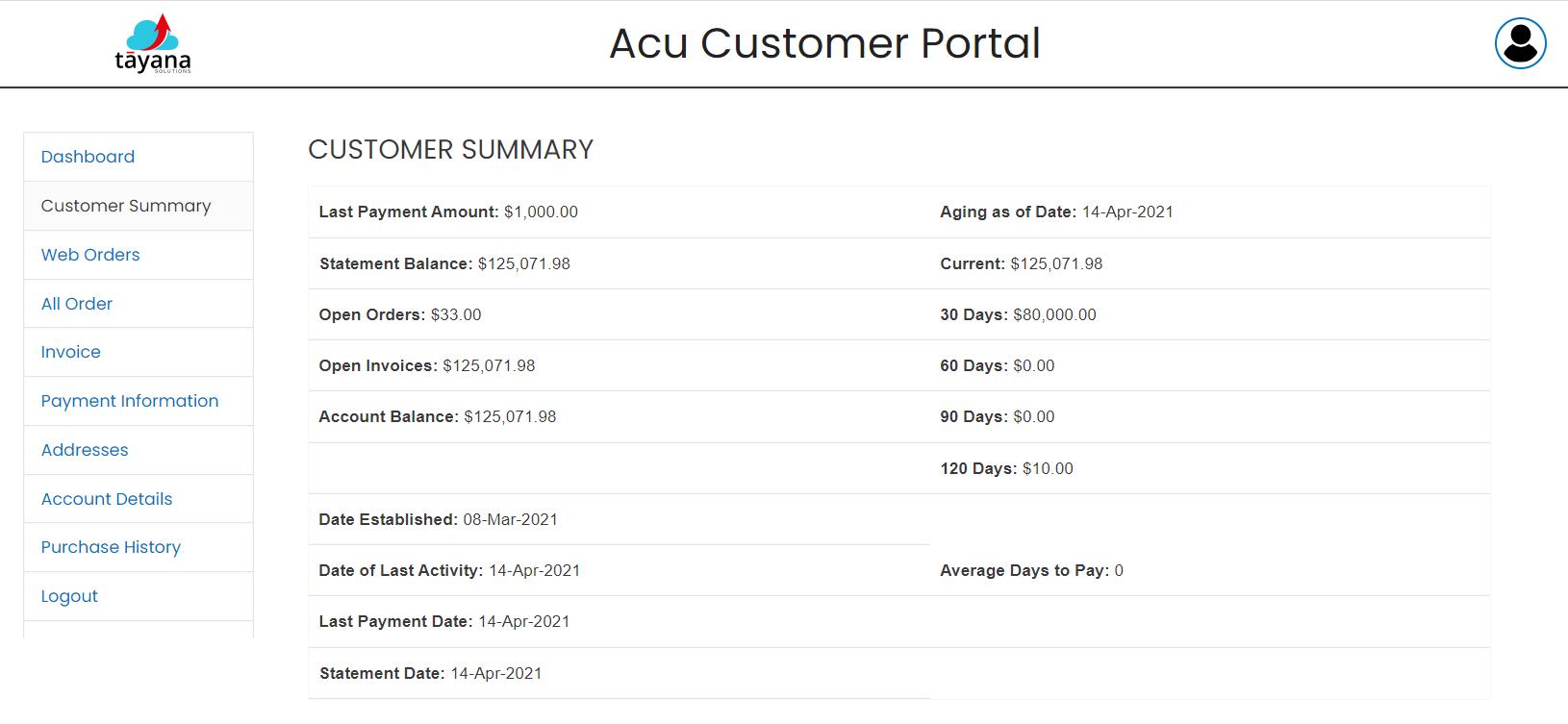 AcuCustomerPortal-CustomerSummary
