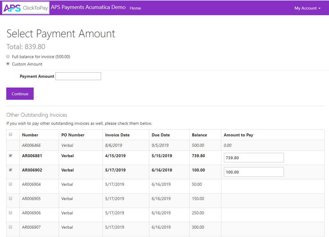 APS ClickToPay Payment Options