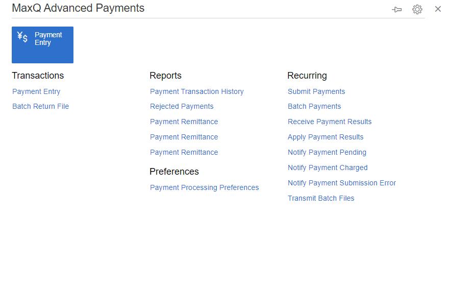Advanced Payments Menu