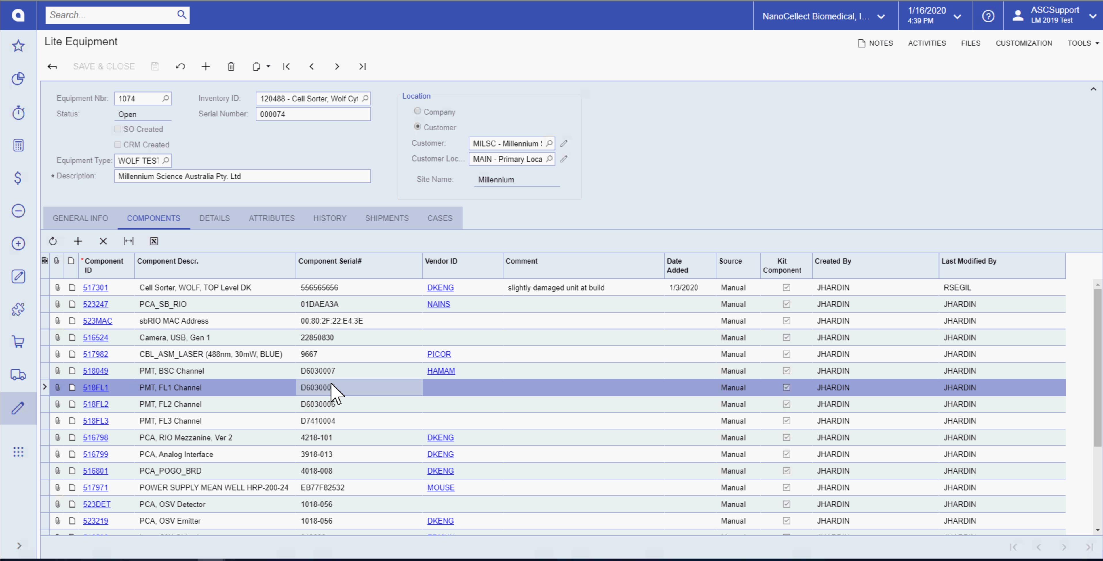 Track all Components' History