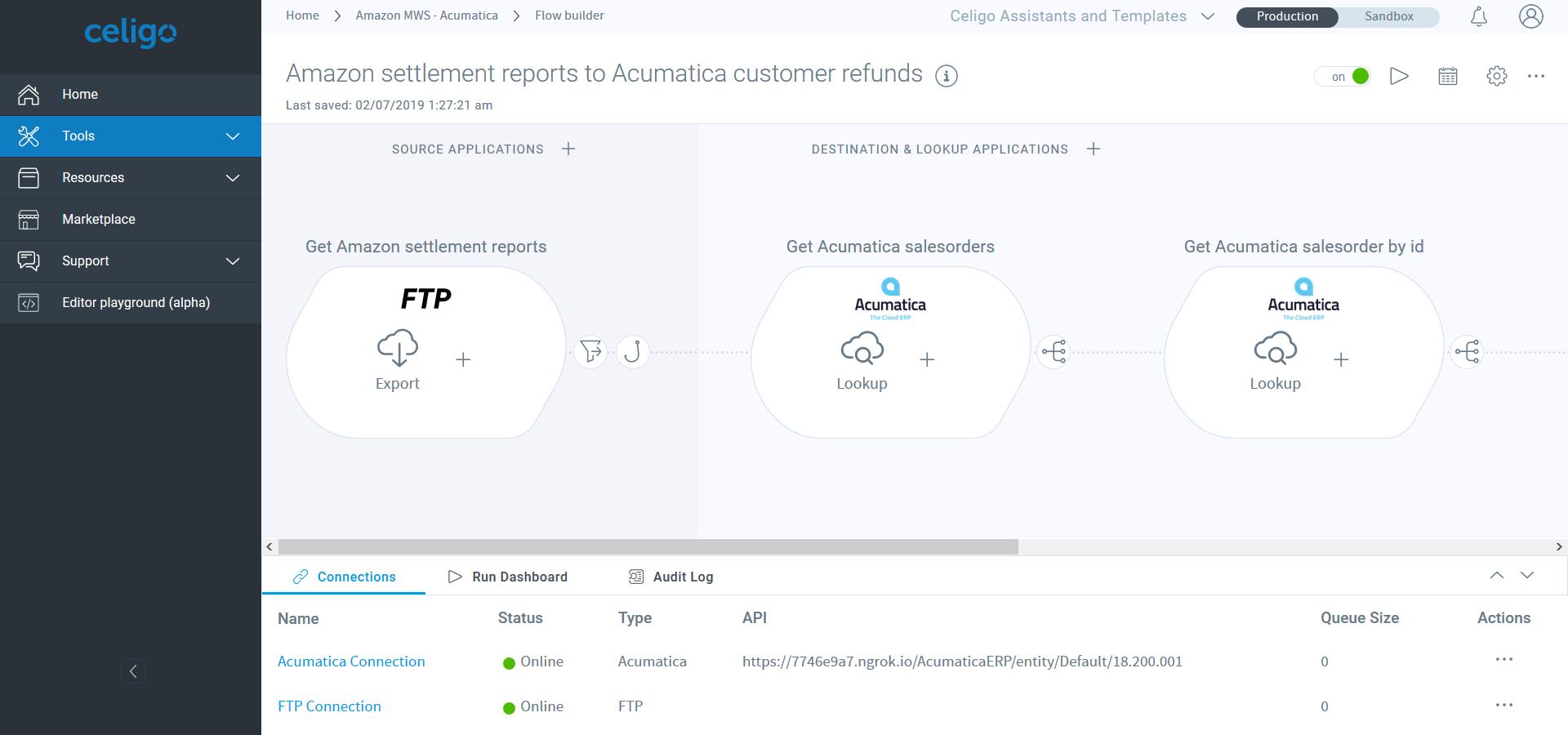 Example flow - Amazon-Acumatica QuickStart bundle