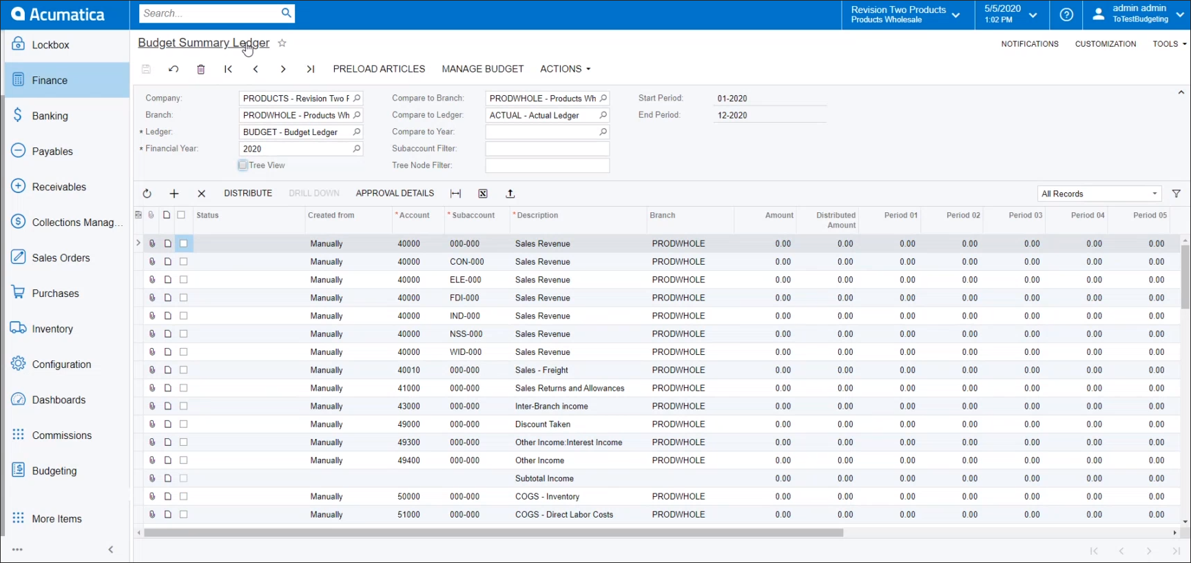 Standard Acumatica Budget Summary Screen