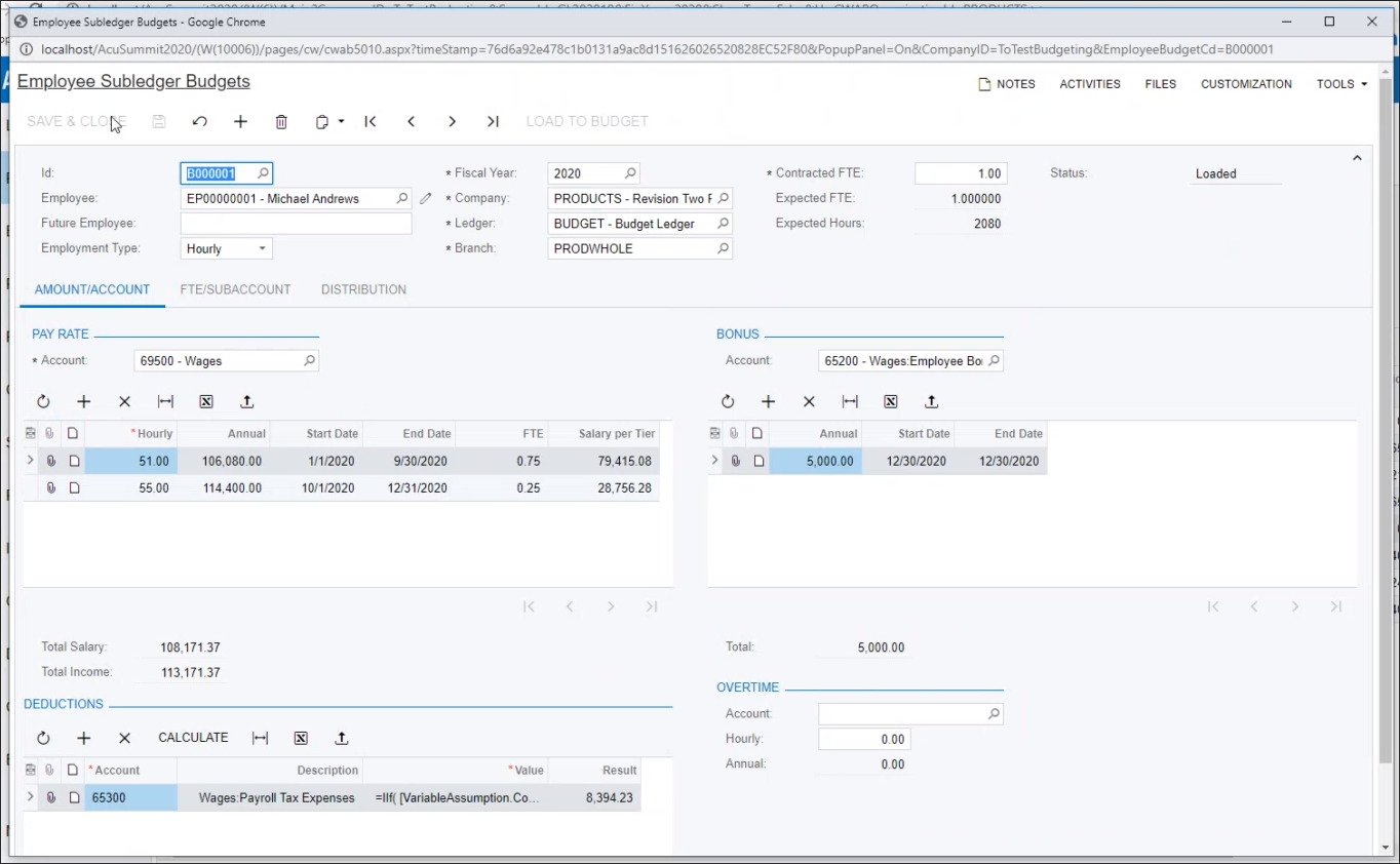 Define salary and hourly rates from the Account screen