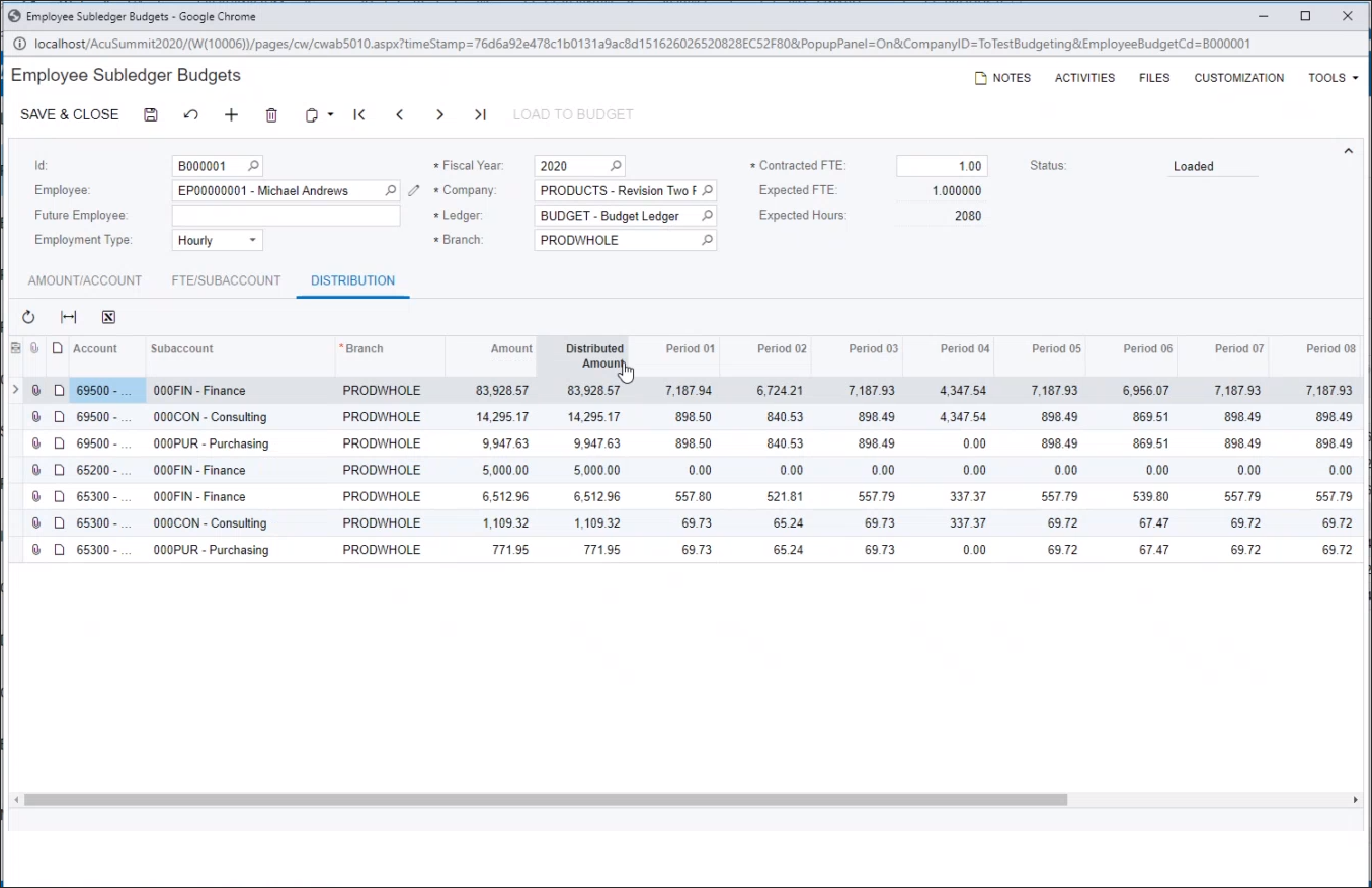 Accounts/Subaccounts combine data to Distribution tab