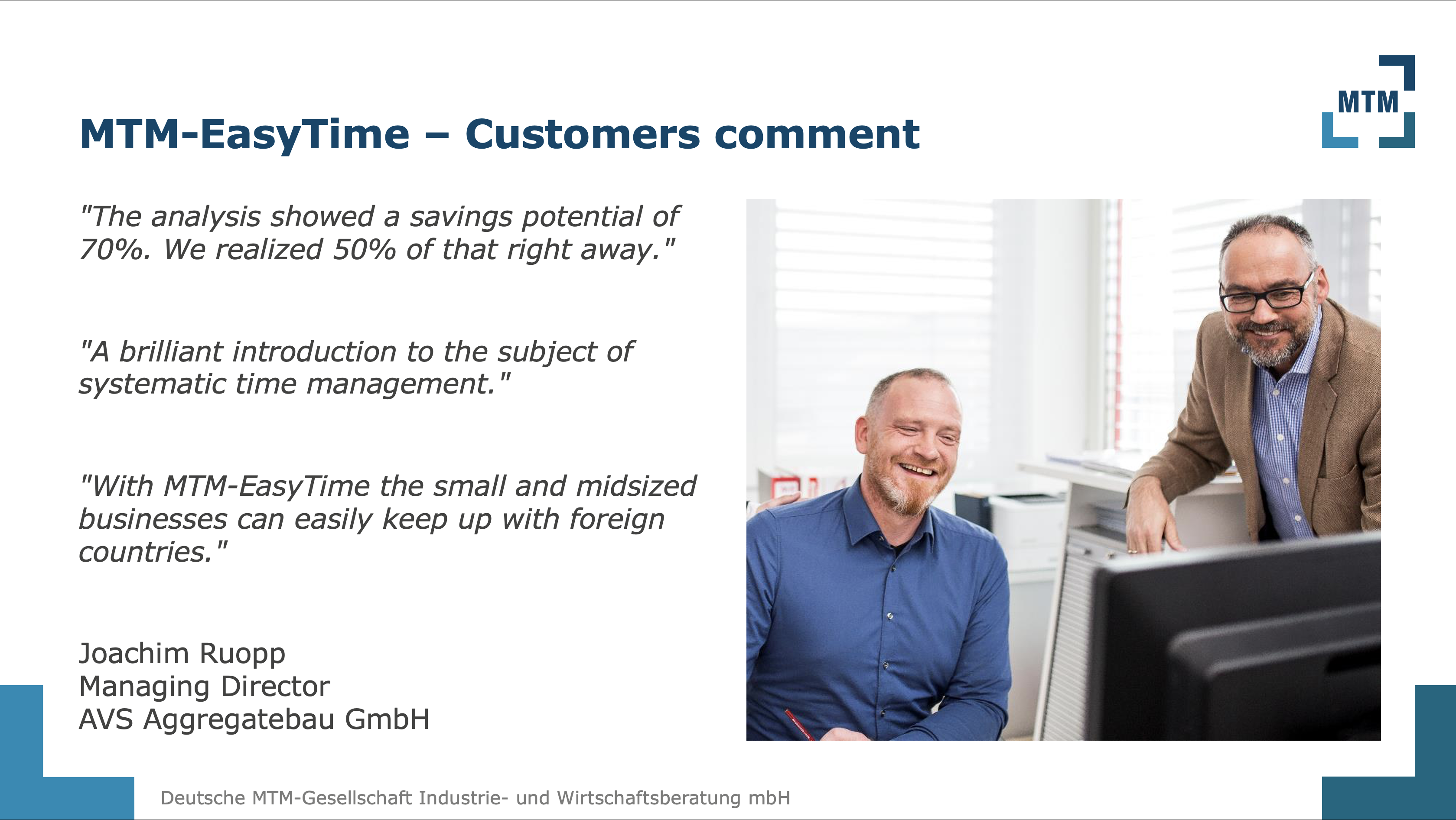 MTM-EasyTime – Customers comment