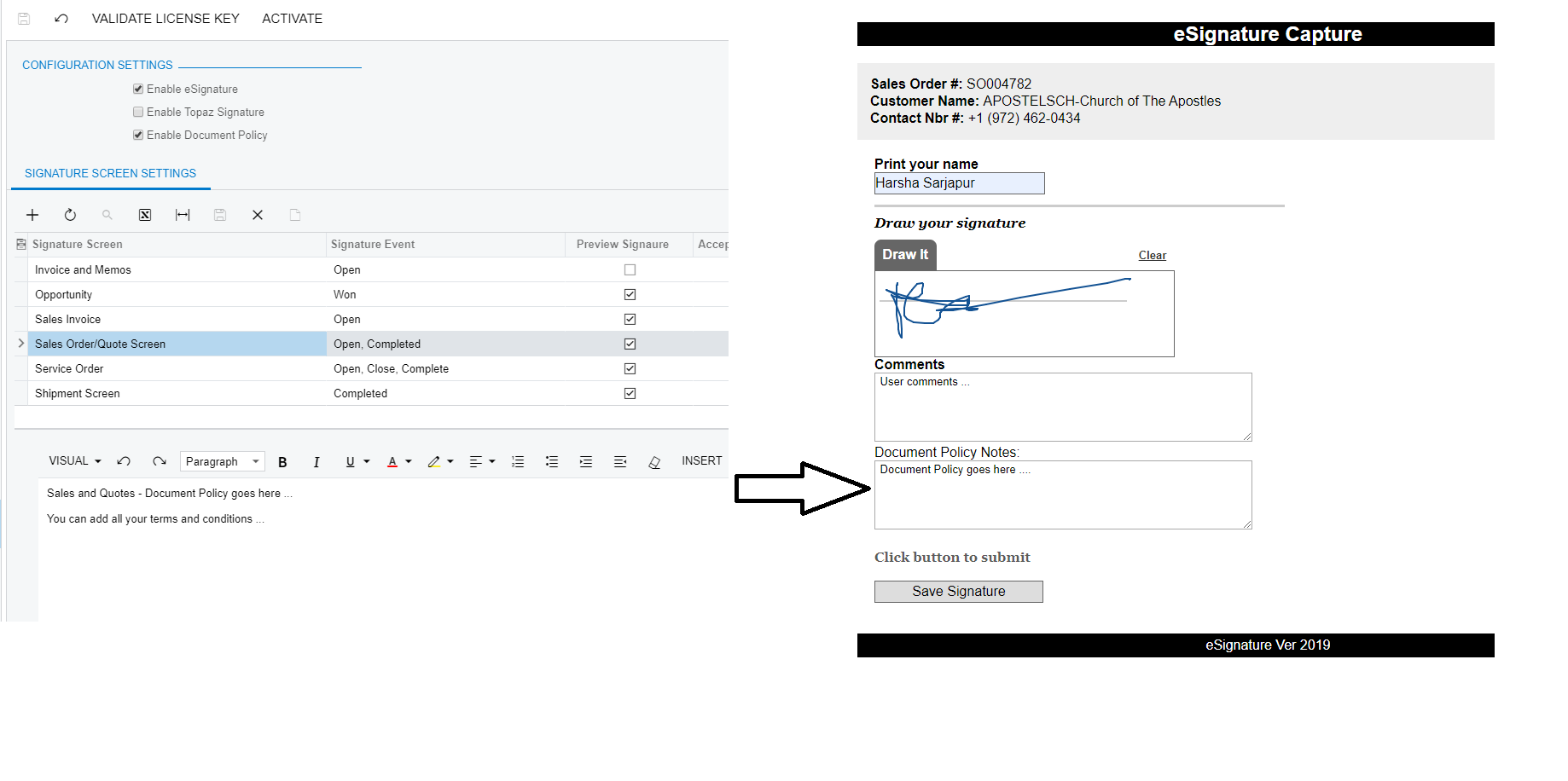 Signature capture On Sales Order screen With Document Policy