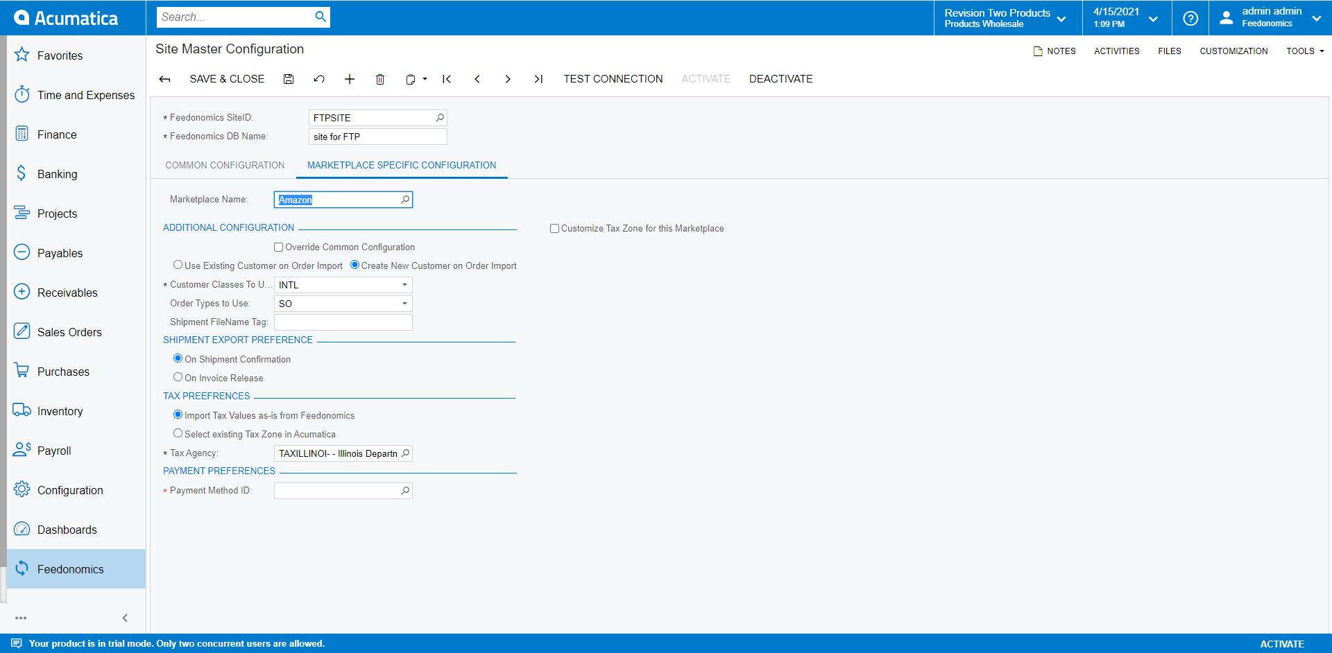 Marketplace Specific Configuration Screen in Acumatica