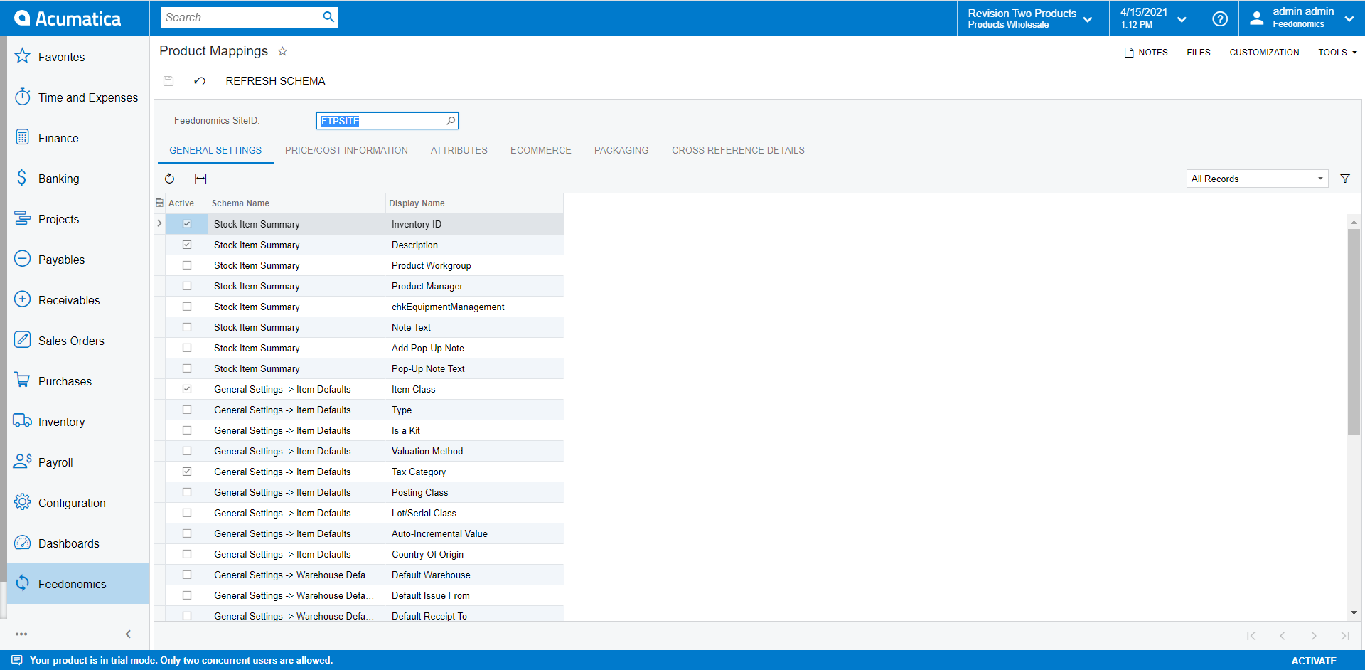 Product Mapping Screen in Acumatica