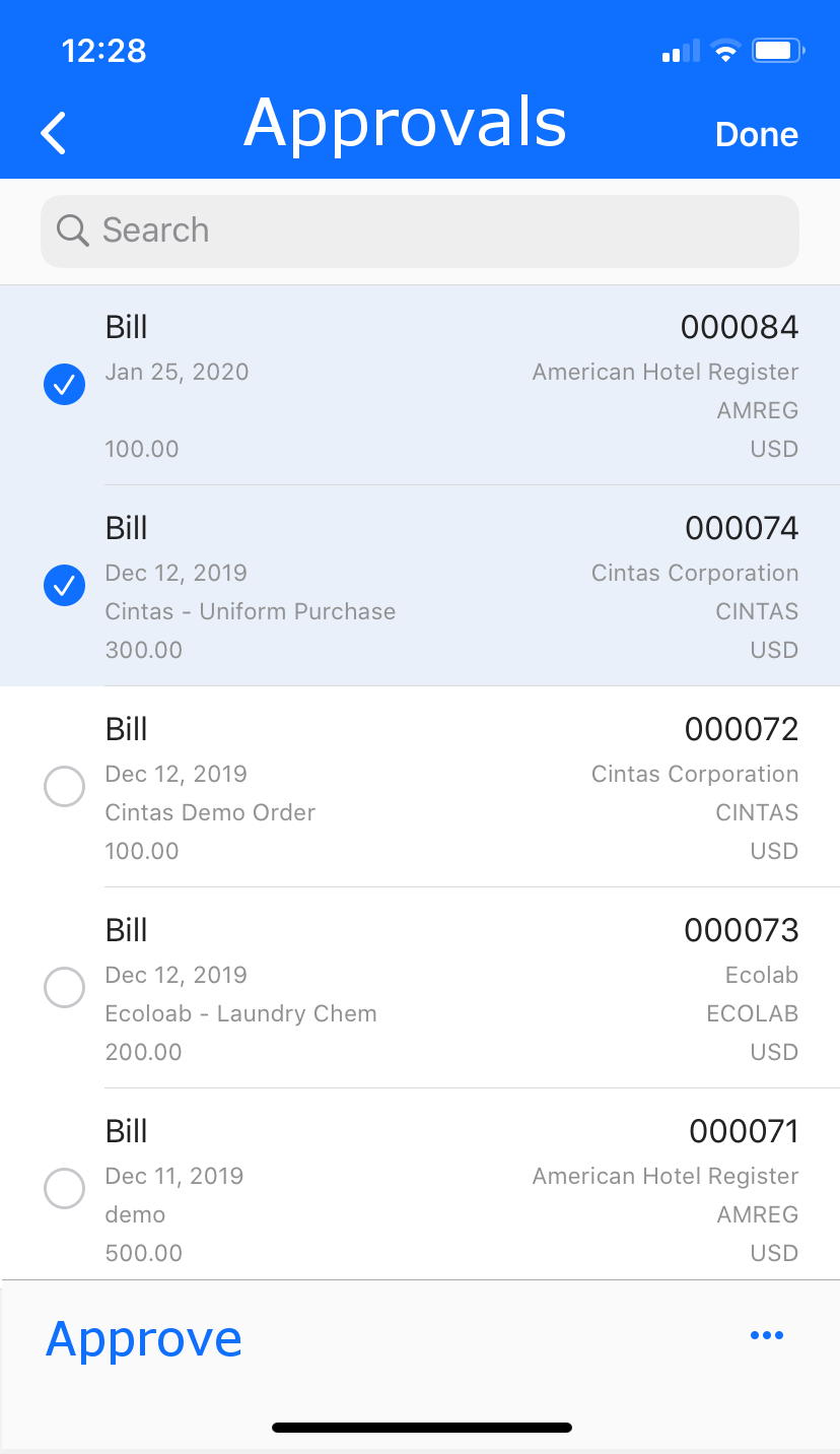Mobile app accounts payables approvals