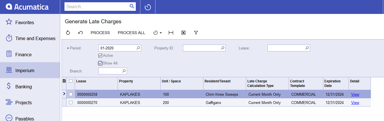 Menus, Dashboard, Generate Lease Charges, Generate Late Chgs