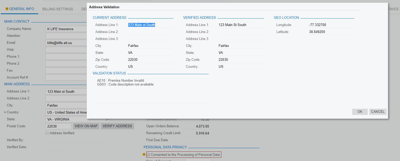 Address Validation Customer Screen