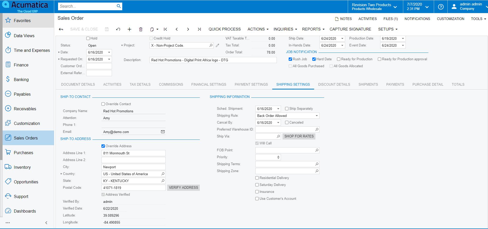 Address Validation Sales Order Screen