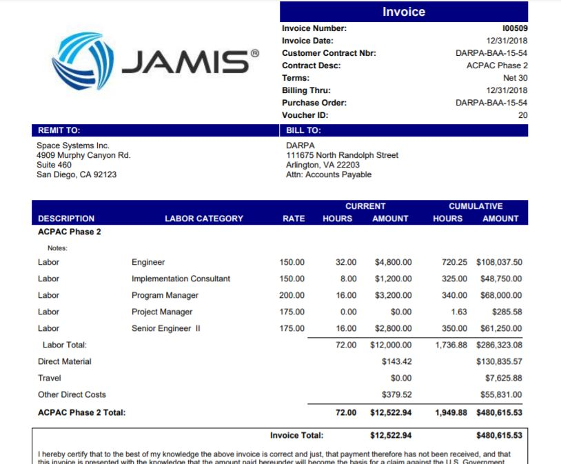 Time & Material Invoice