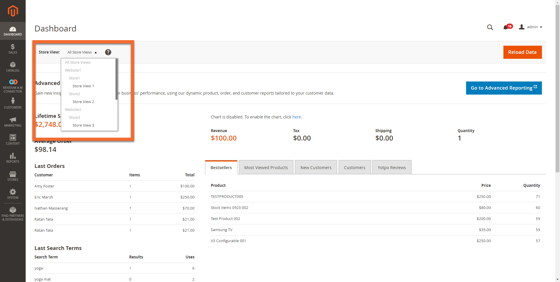 Multi-Site and Store Selection in Magento
