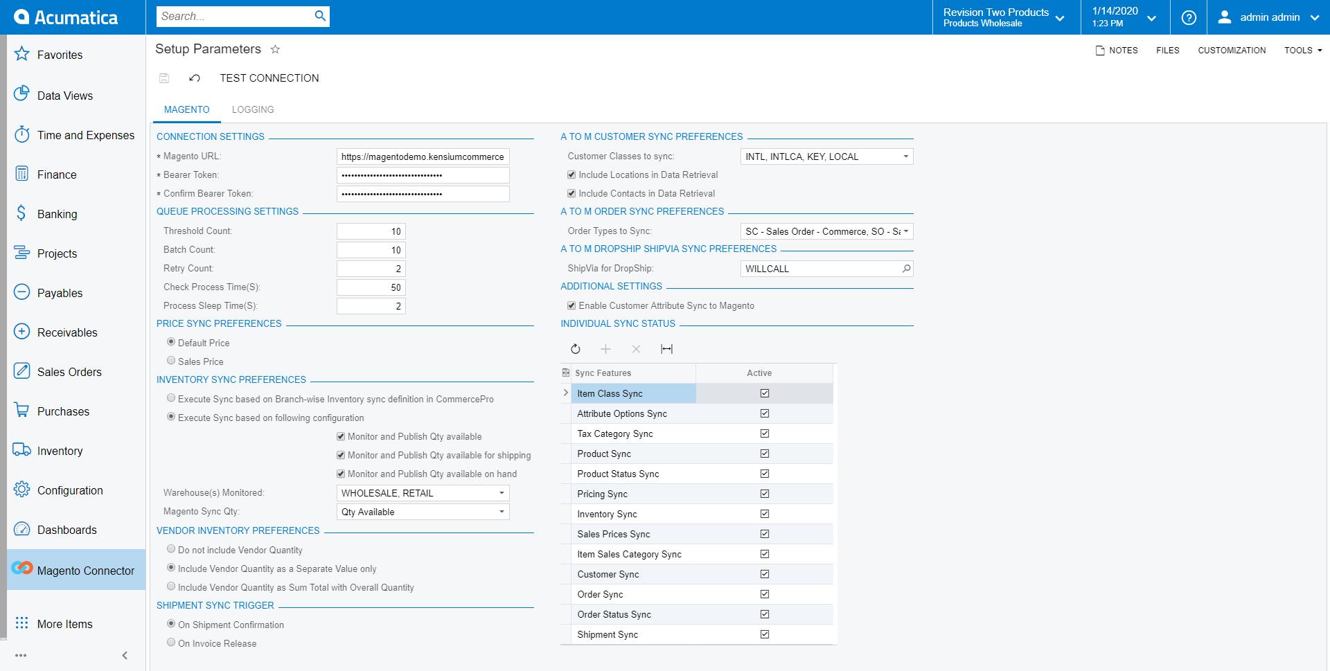 Setup Parameters Screen in Acumatica