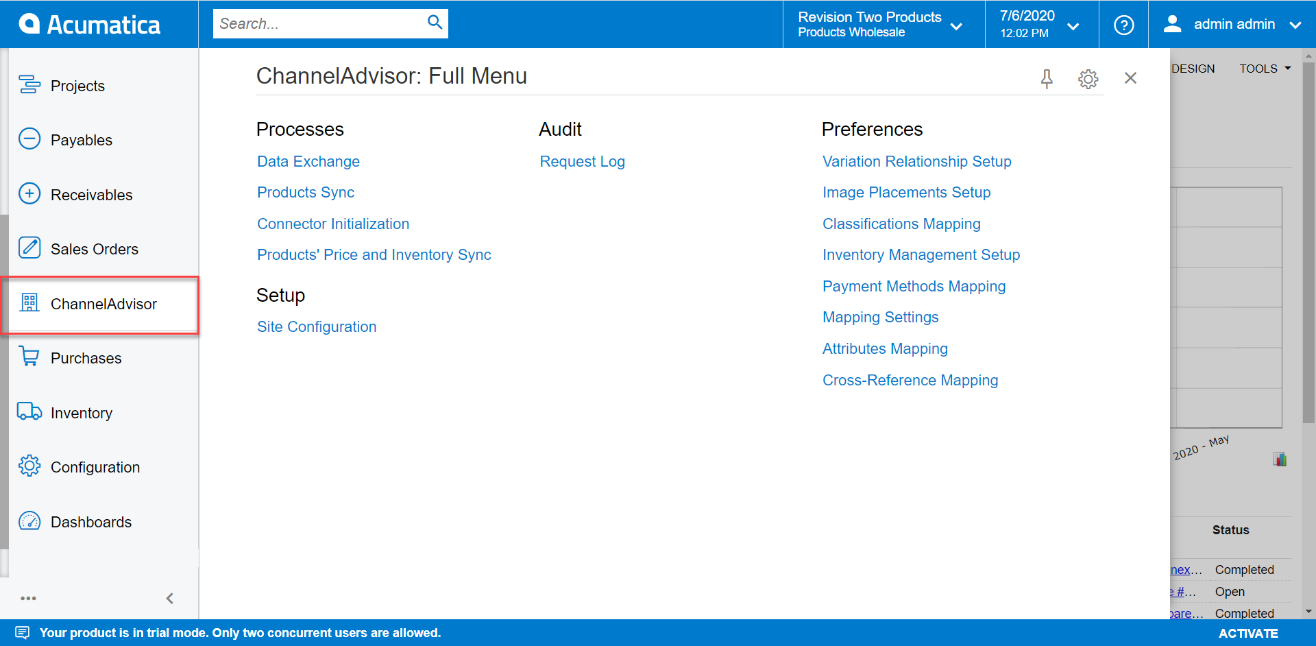 ChannelAdvisor Workplace in Acumatica
