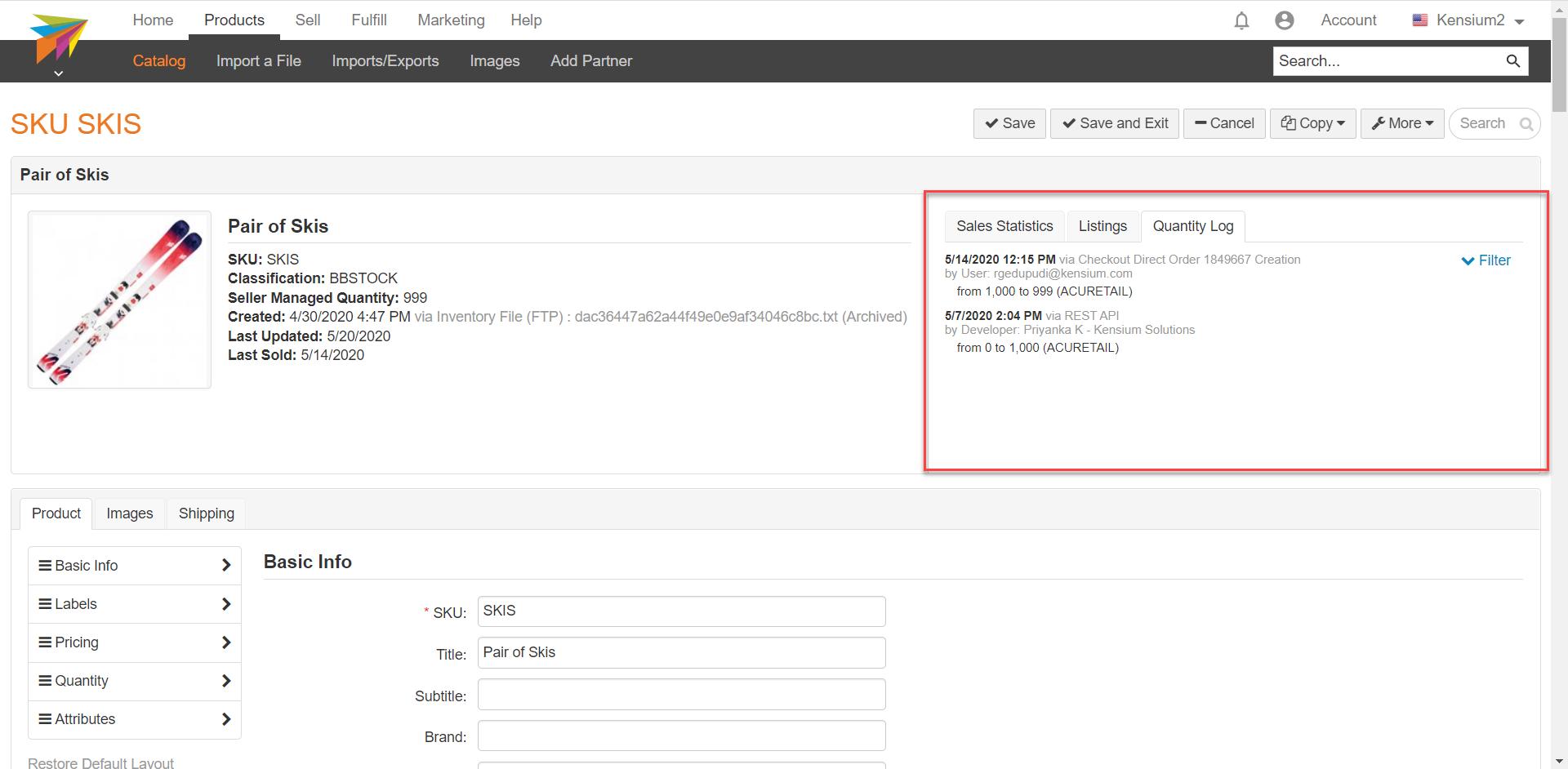 Quantity Log on a Stock Item In ChannelAdvisor