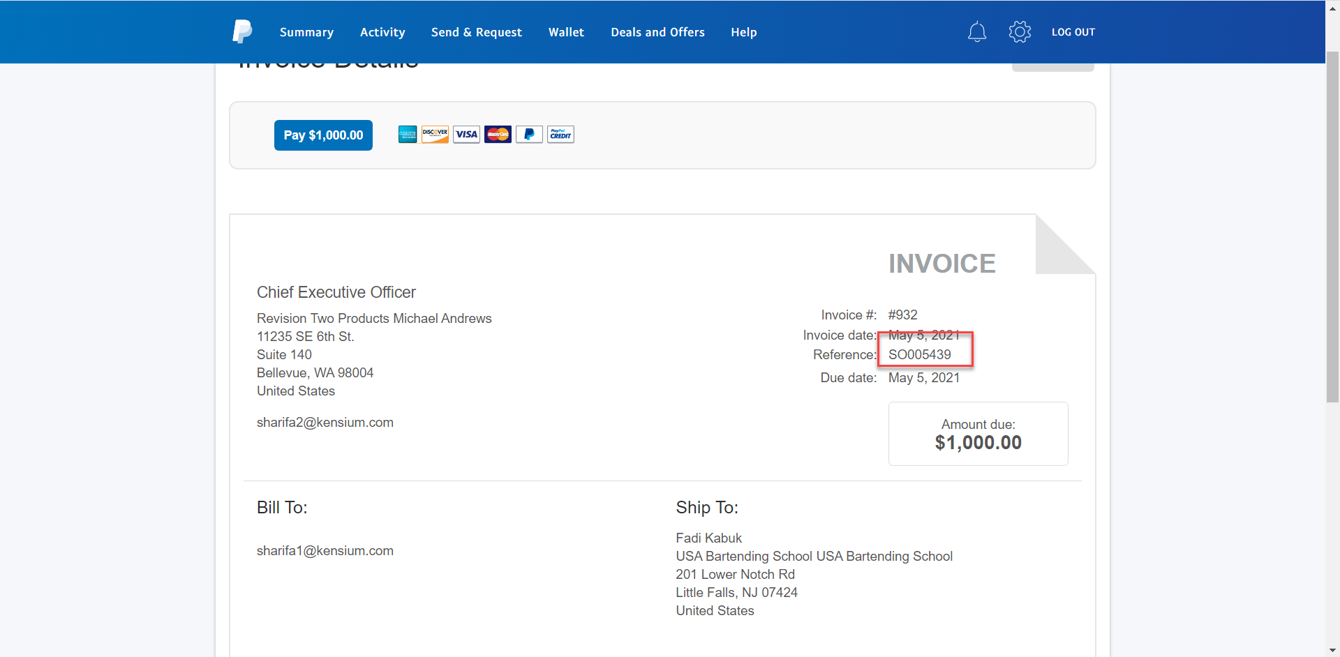 Customer PayPal Invoice with SO Number as Reference Number