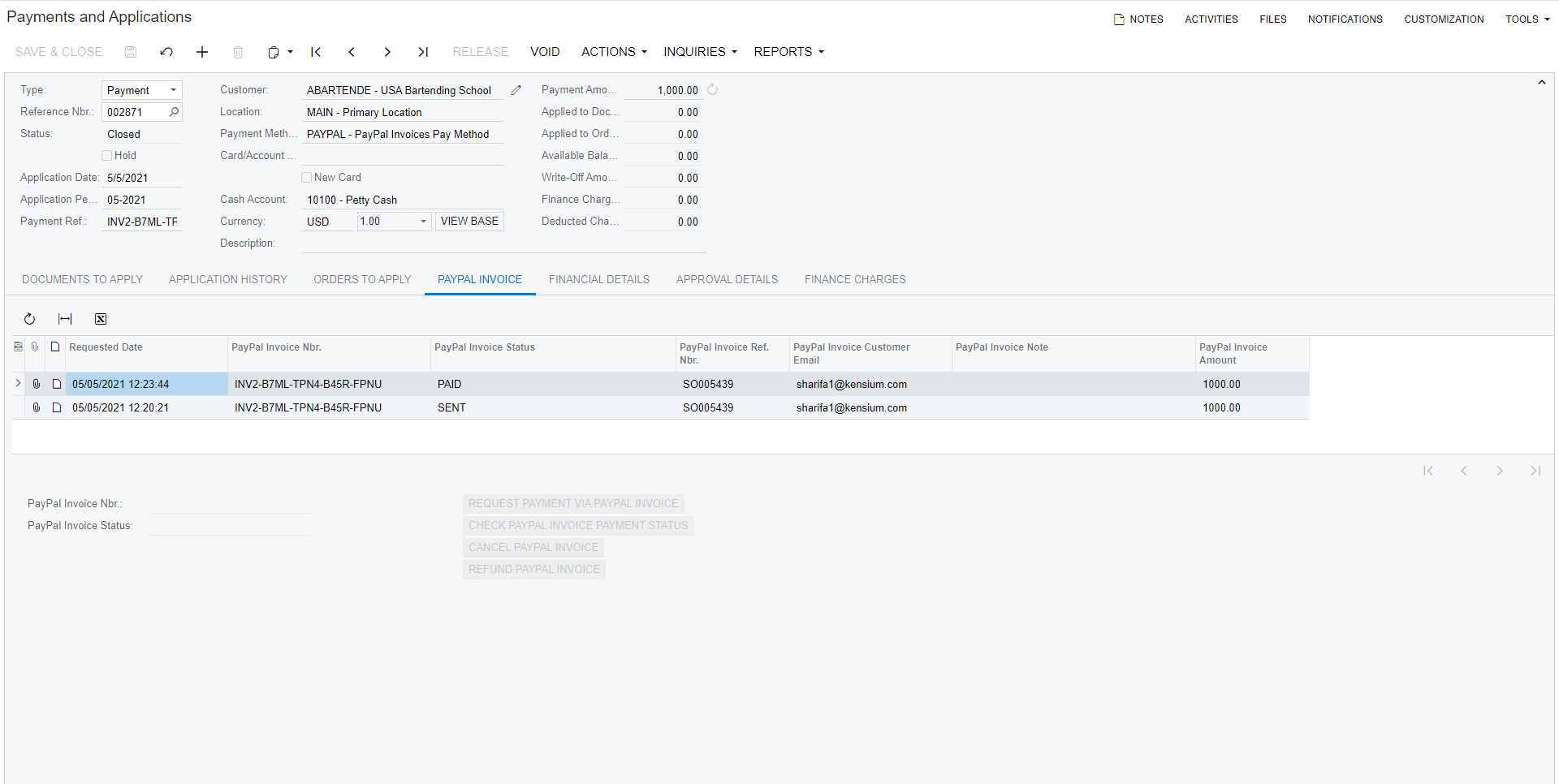 PayPal Invoicing on the Payments & Applications Screen