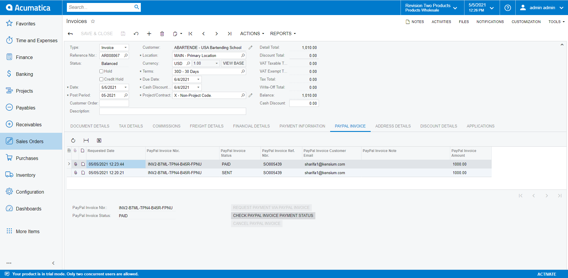PayPal Invoicing on the Invoices Screen