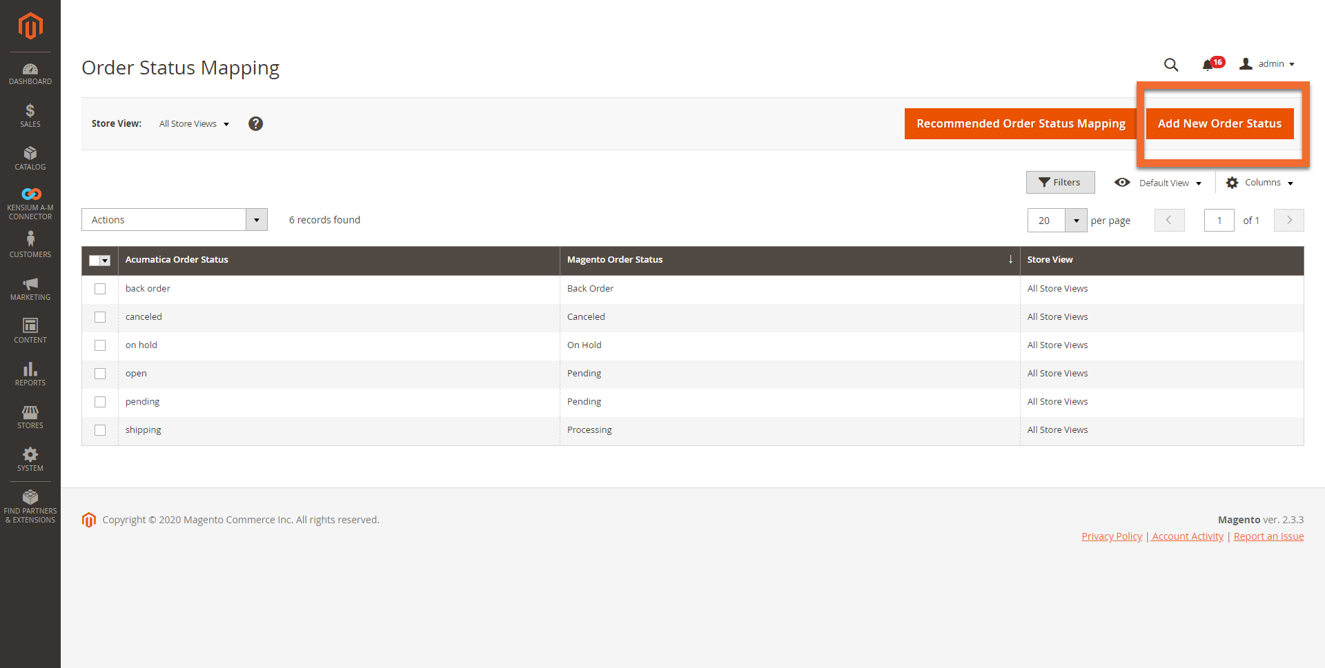 Order Status Mapping Screen in Magento