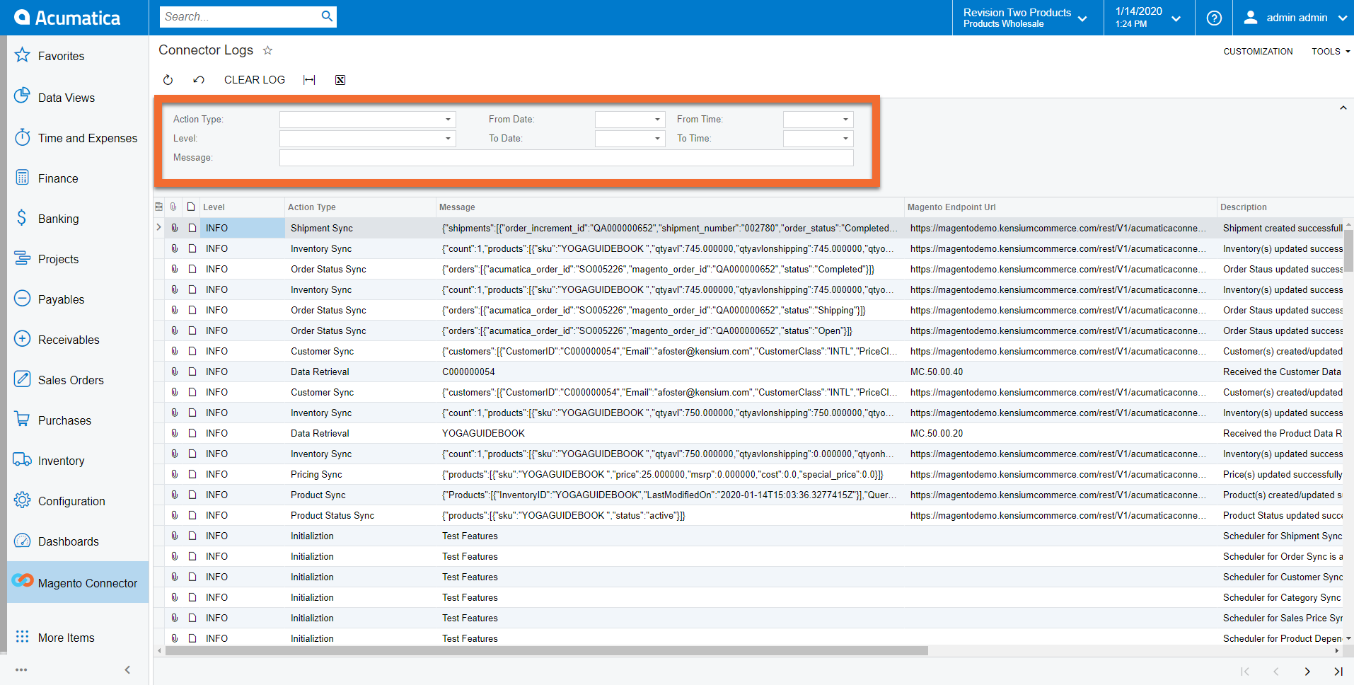 Logging Screen in Acumatica