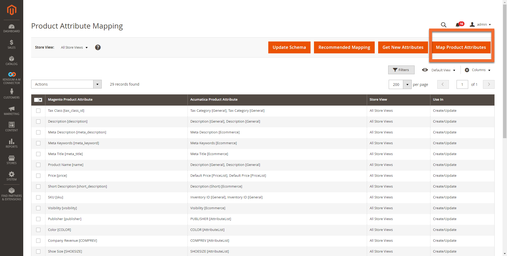 Product Attribute Mapping Screen in Magento