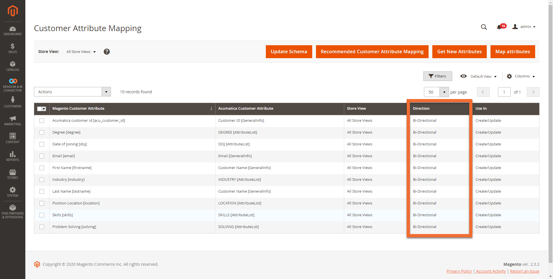 Customer Attribute Mapping Screen in Magento