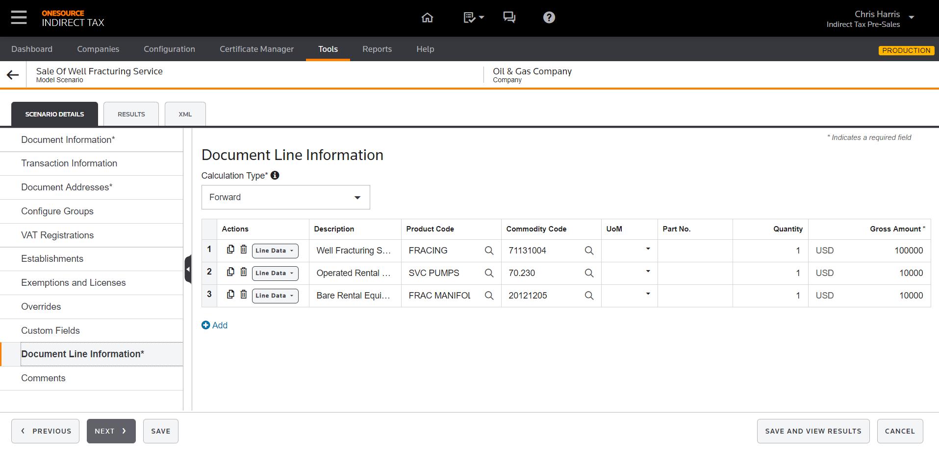 Document Line Information