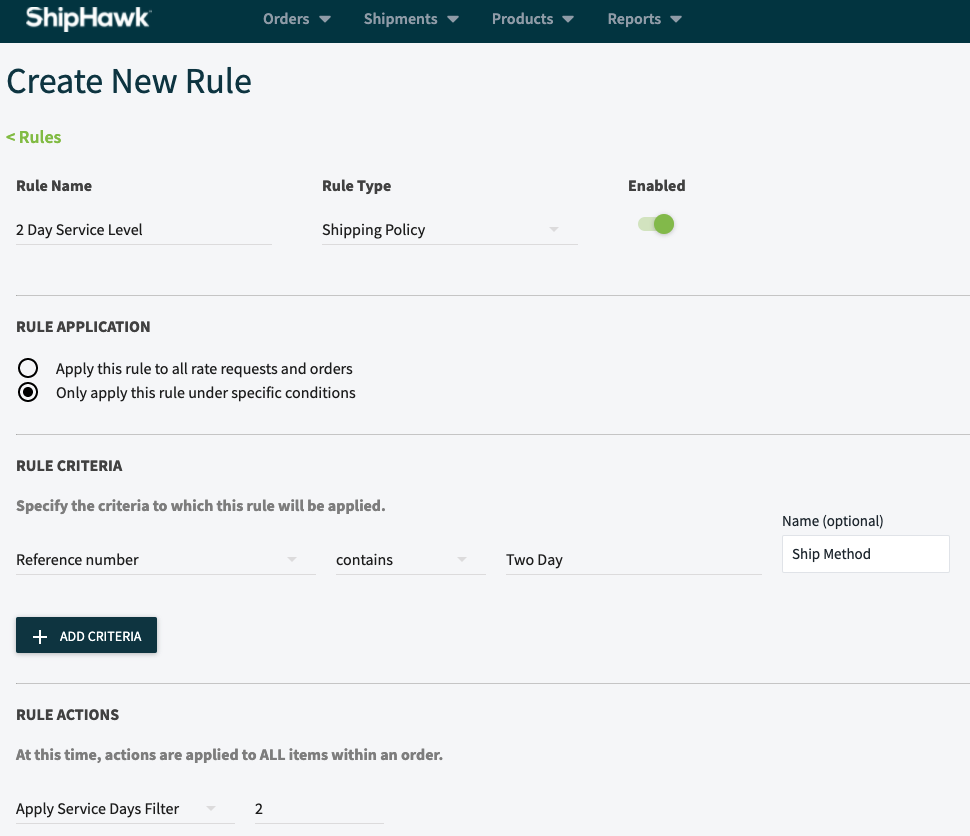 Configurable Business Rules - Shipping Policy