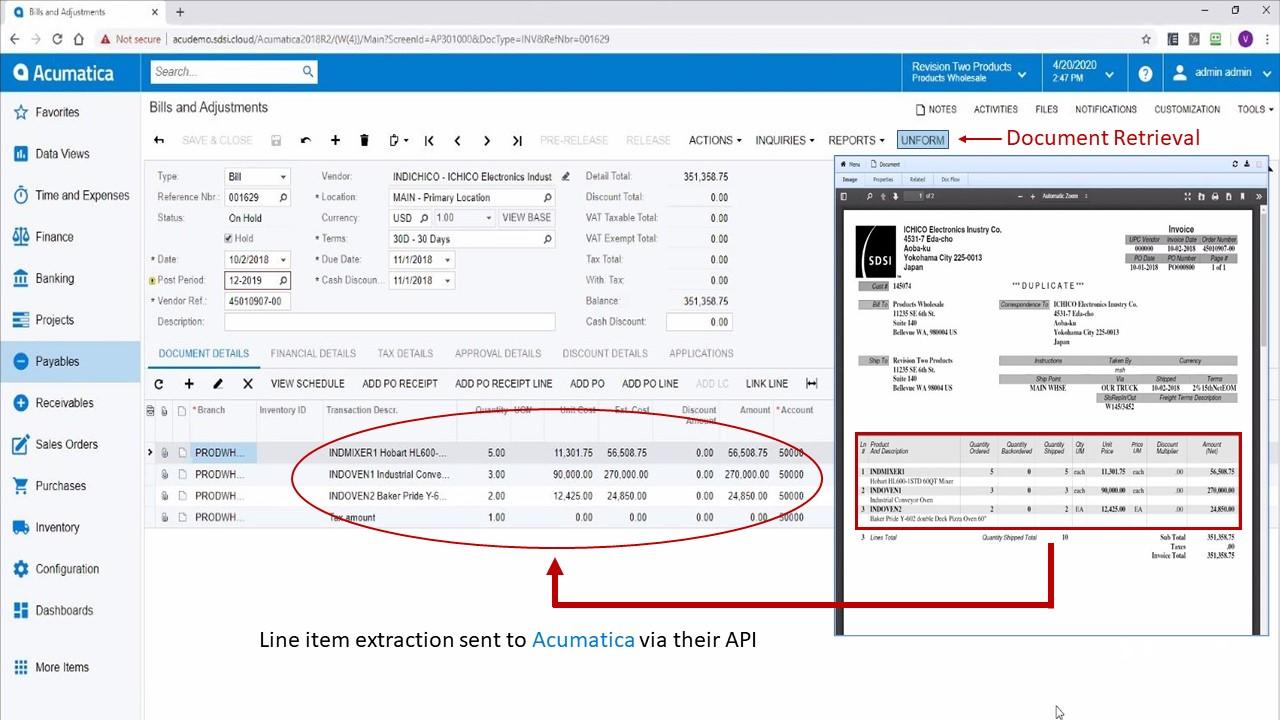 Send Data to Acumatica to Create a Bill