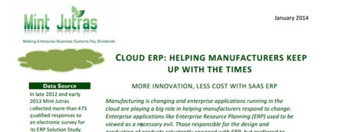 Cloud ERP: Helping Manufacturers Keep up with the Times