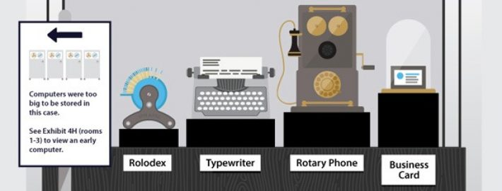 The Museum of Disruptive Technology Infographic: From Rolodex to Cloud ERP Software