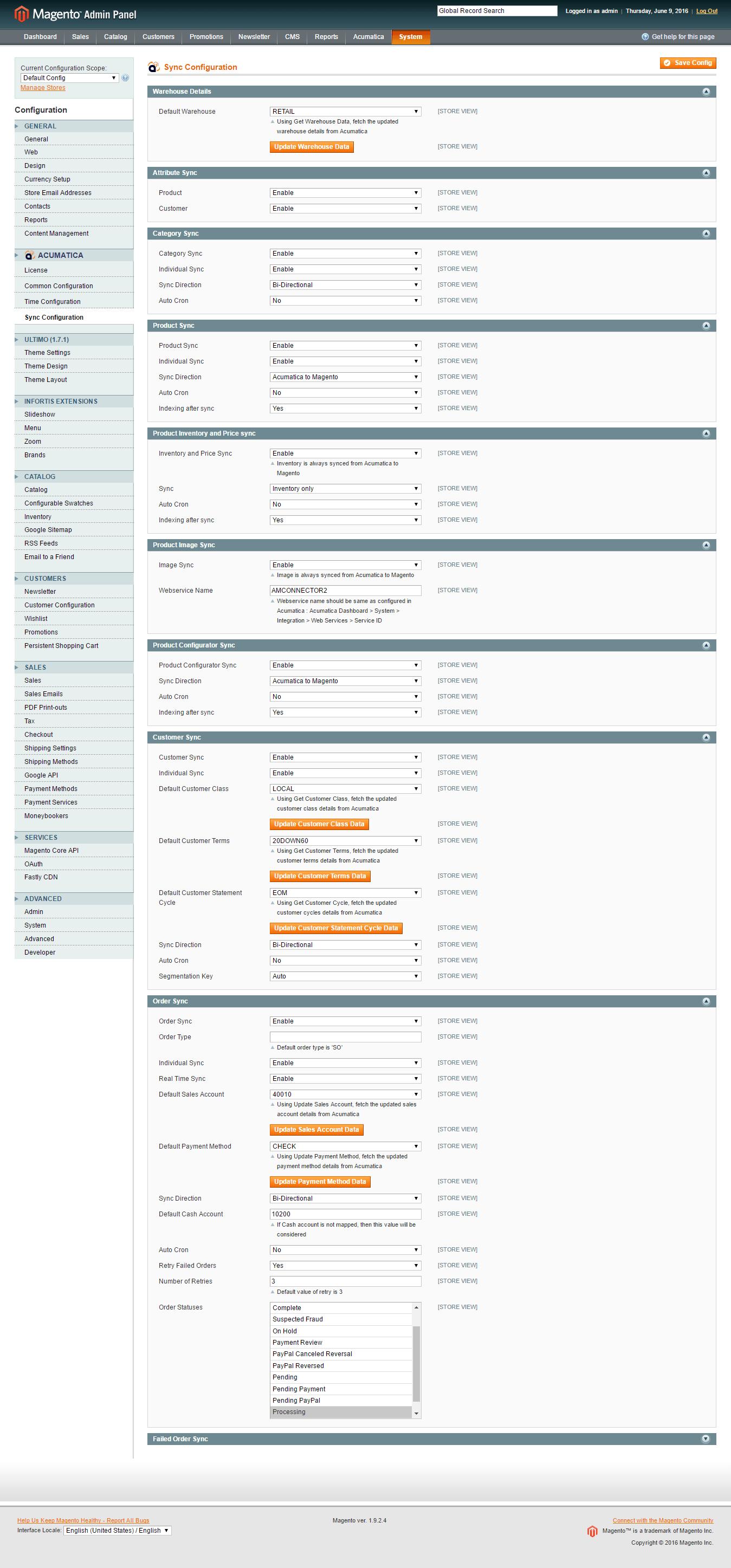 Magento Acumatica Connector: Sync Config